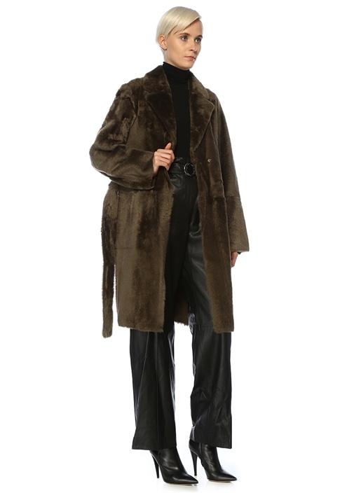 Haki Beli Kuşaklı Kruvaze Yün Palto
