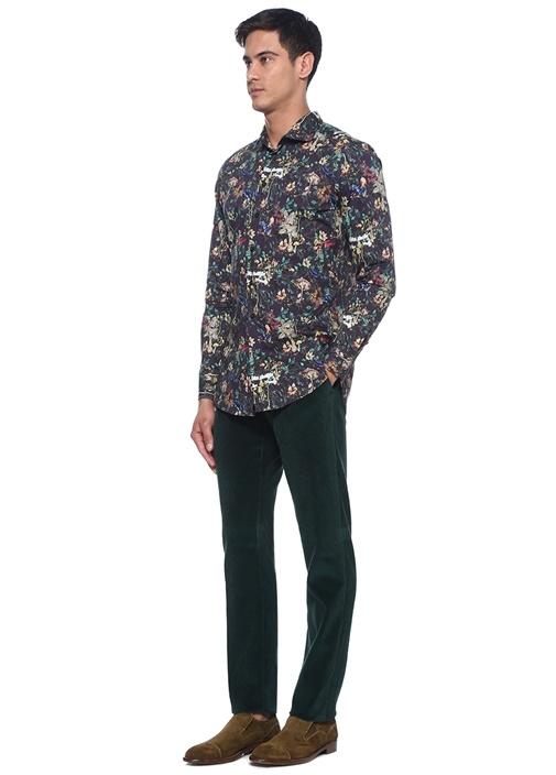 Slim Fit Yeşil Çizgi Oluklu Kadife Pantolon