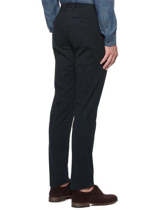 Slim Fit Mikro Geometrik Desenli Pantolon