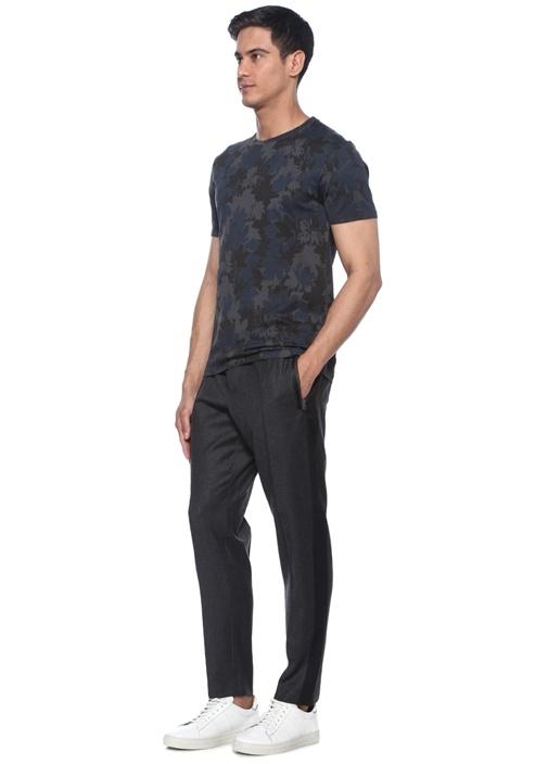 Lacivert Gri Yaprak Baskılı Basic T-shirt
