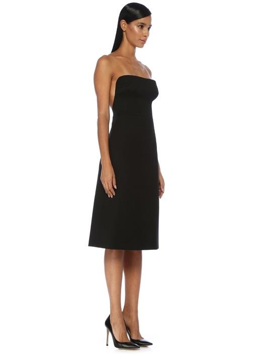 Siyah Straplez Sırt Dekolteli Midi Yün Elbise