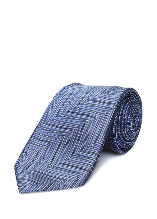 Lacivert Mavi Diyagonal Çizgili İpek Kravat