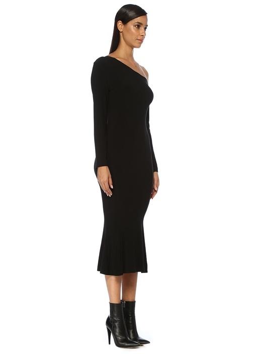 Siyah Tek Omzu Açık Ucu Volanlı Midi Elbise