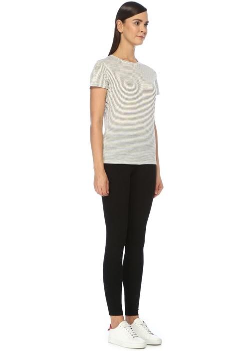 Lacivert Beyaz Bisiklet Yaka Çizgili Basic T-shirt