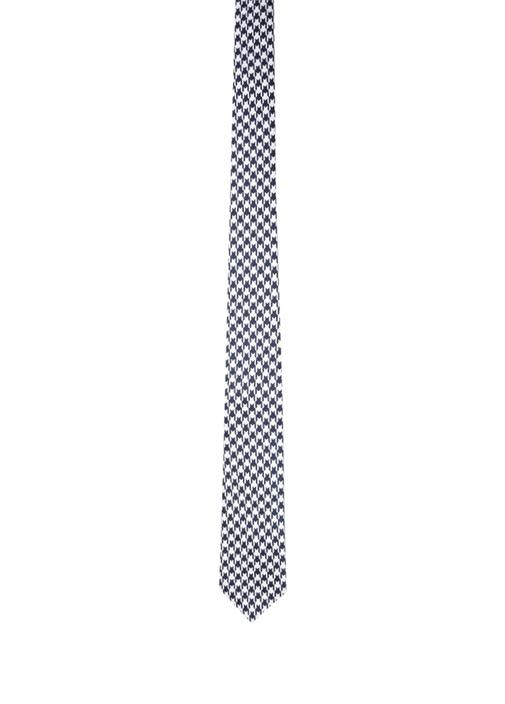 Lacivert Gri Kazayağı Desenli İpek Kravat