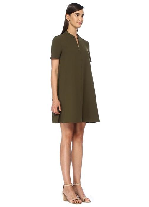 Haki Fermuar Detaylı Midi Krep Elbise