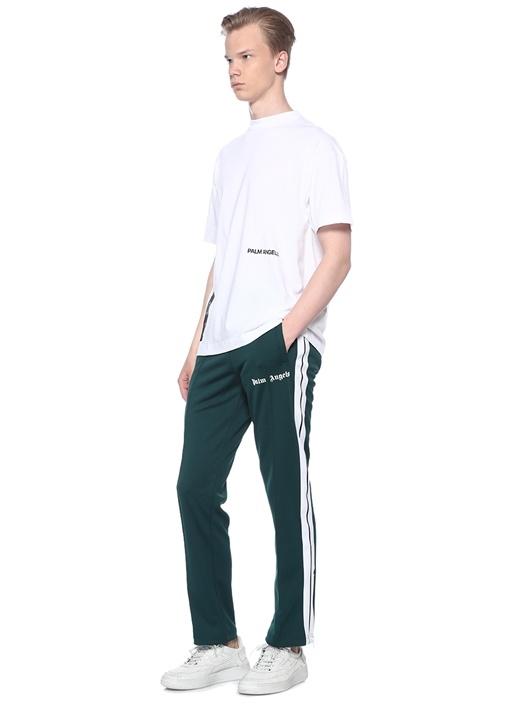Recovery Beyaz Dik Yaka Baskılı Basic T-shirt