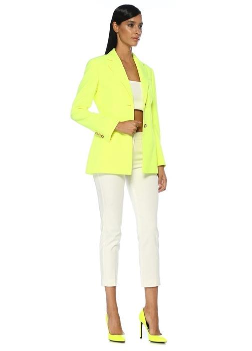 Neon Sarı Kelebek Yaka Uzun Blazer Ceket