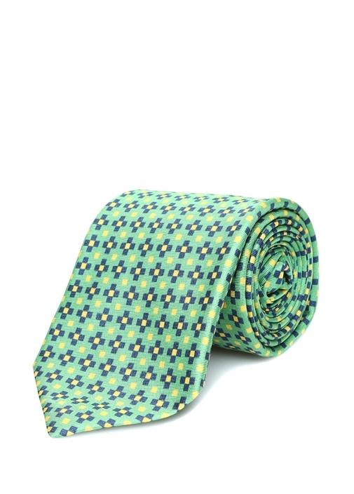 Yeşil Mikro Çiçek Desenli İpek Kravat