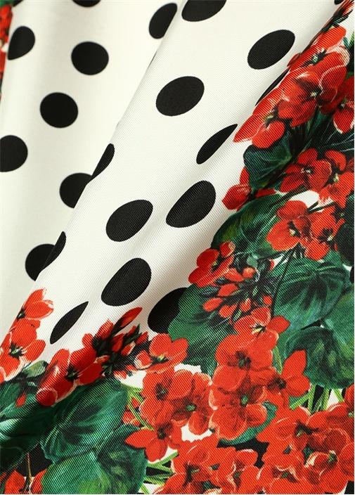 Portofino Kırmızı Çiçekli Kadın Twill İpek Fular