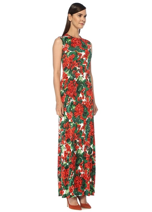 Portofino Kırmızı Çiçekli Kolsuz Maksi Elbise