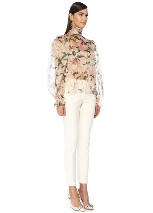 Lilium Pembe Dik Yaka Transparan İpek Gömlek