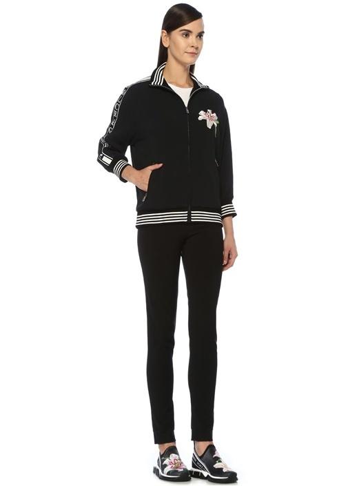 Lilium Siyah Dik Yaka Fermuarlı Sweatshirt