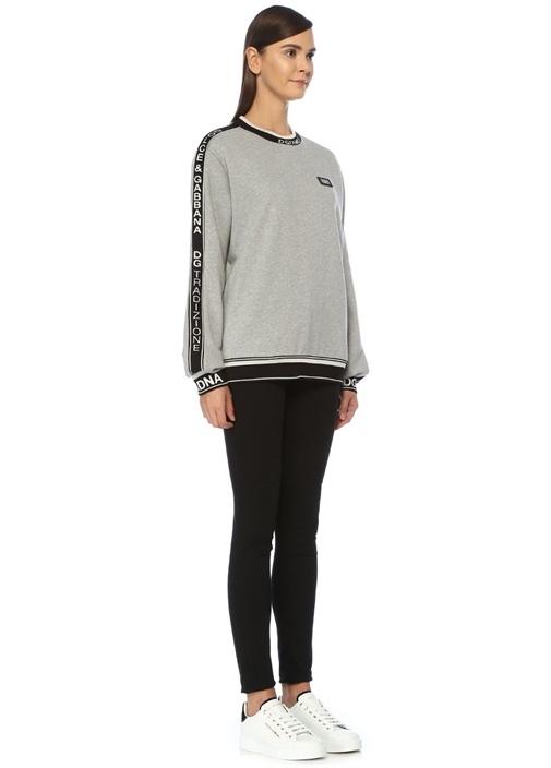 Gri Siyah Logo Bantlı Sweatshirt