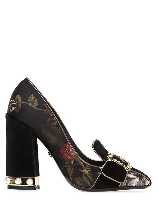 Siyah Desenli Kadife Garnili Topuklu Ayakkabı