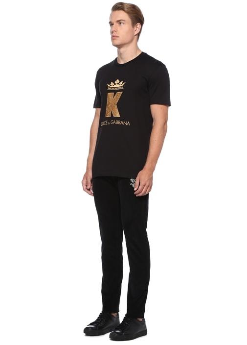 Skinny Fit Siyah Logo Patchli Kadife Pantolon