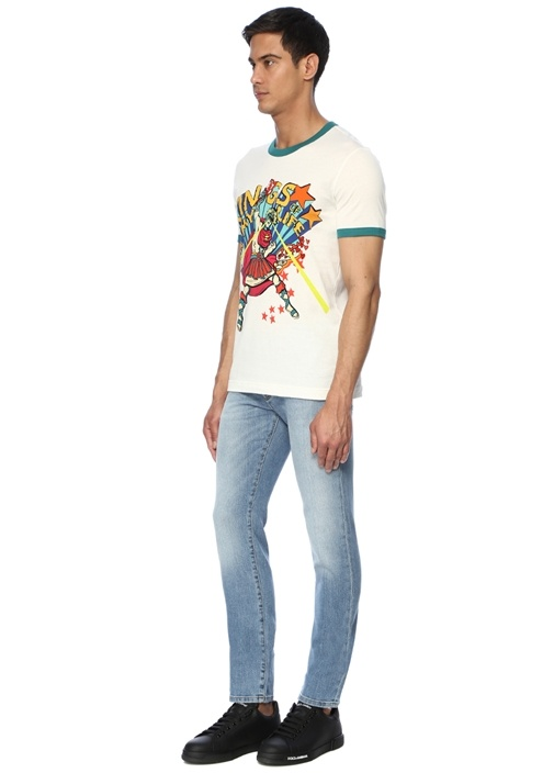 Beyaz Karikatür Baskılı Basic T-shirt