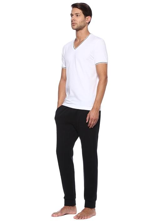 Beyaz Yakası Kontrast Ribli Erkek T-shirt