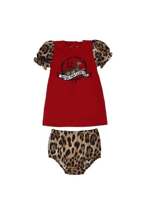 Kırmızı Kolları Leopar Desenli Kız Bebek Elbise