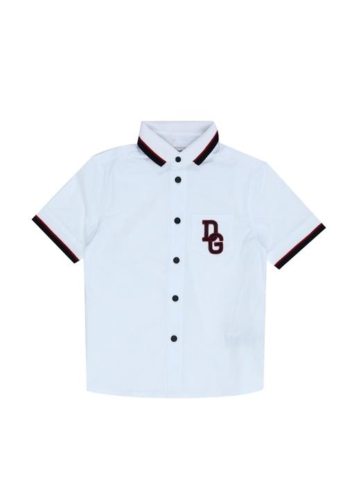 Beyaz Triko Yakalı Logolu Erkek Çocuk Gömlek