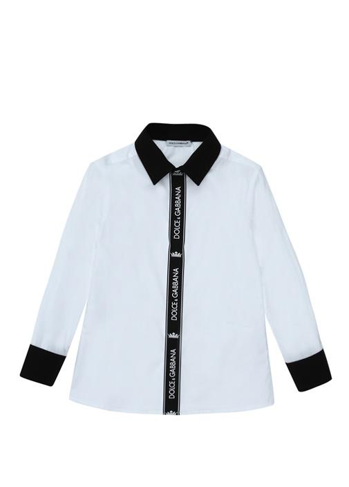 Beyaz Logo Pat Detaylı Erkek Çocuk Gömlek