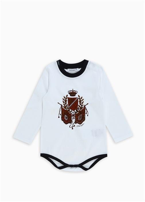 Beyaz Logo Baskılı Erkek Bebek Body