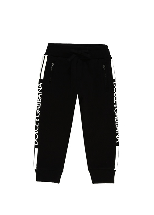 Siyah Beyaz Logolu Erkek Çocuk Pantolon