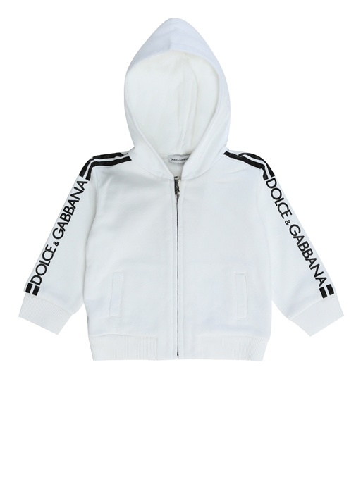 Beyaz Kapüşonlu Logolu Erkek Bebek Sweatshirt