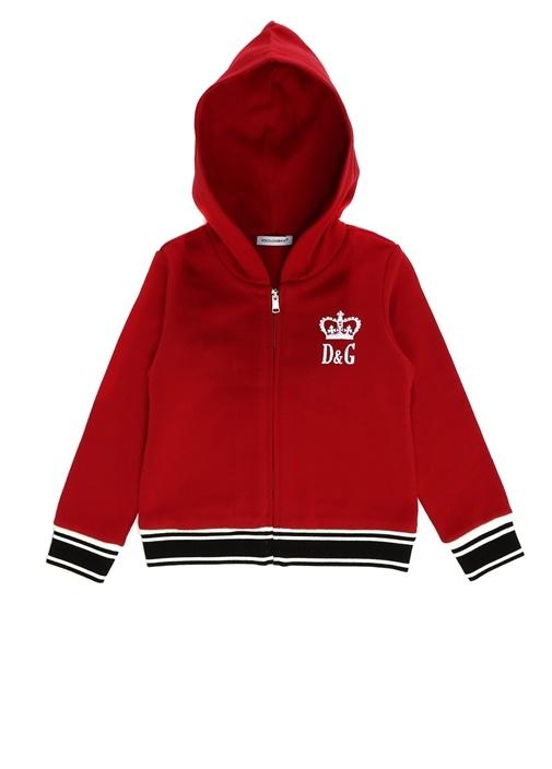 Kırmızı Kapüşonlu Logolu Kız Çocuk Hırka