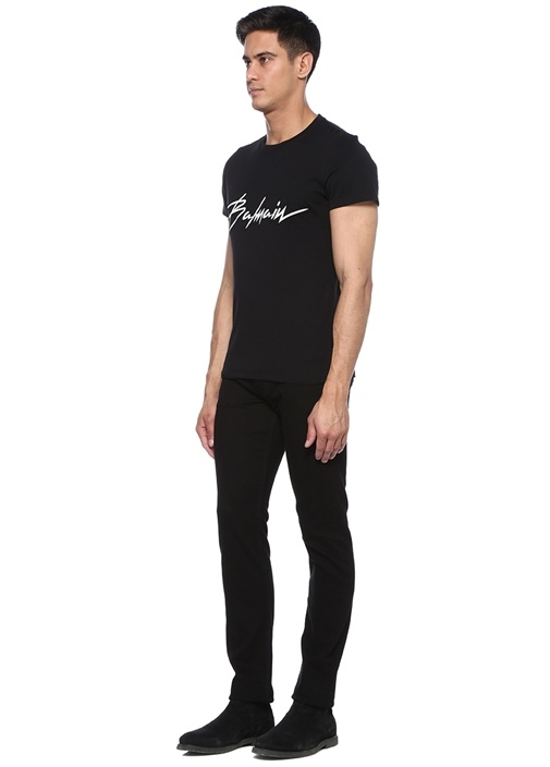 Siyah Bisiklet Yaka Logo Patchli Basic T-shirt