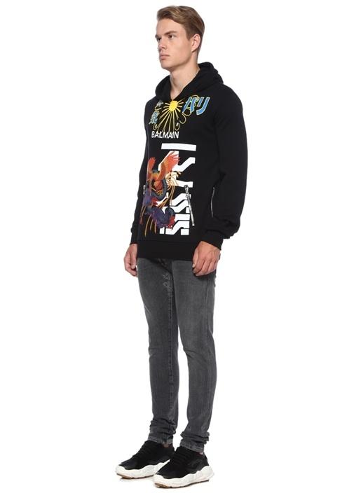 Siyah Kapüşonlu Baskılı Yanı Fermuarlı Sweatshirt