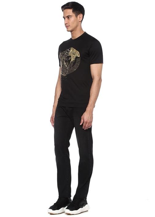 Siyah Bisiklet Yaka Gold Taşlı Logolu T-shirt