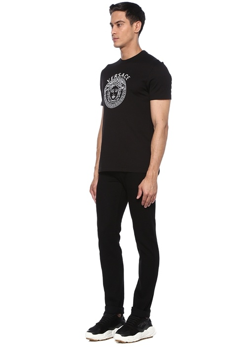 Siyah Bisiklet Yaka Kontrast Logolu T-shirt