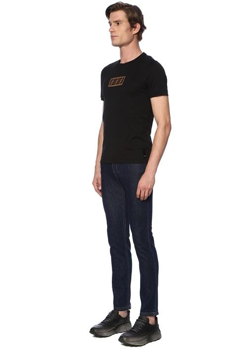 Lacivert Beli Logo Jakarlı Boru Paça Jean Pantolon