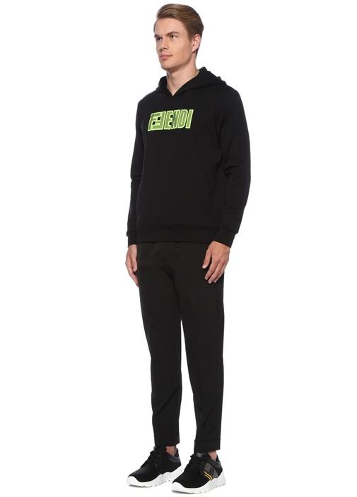 Siyah Neon Sarı Logolu Kapüşonlu Sweatshirt