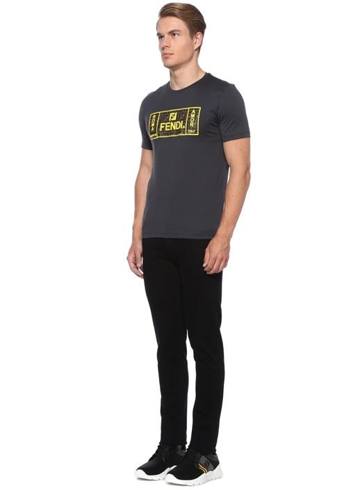 Gri Logo Patchli Basic T-shirt
