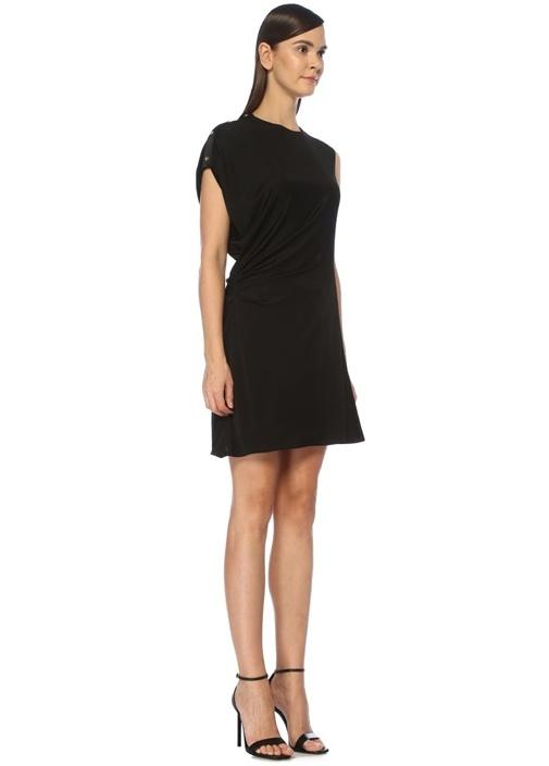 Siyah Asimetrik Drapeli Mini İpek Elbise