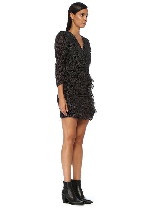 Celia Siyah V Yaka Puantiyeli Mini Elbise