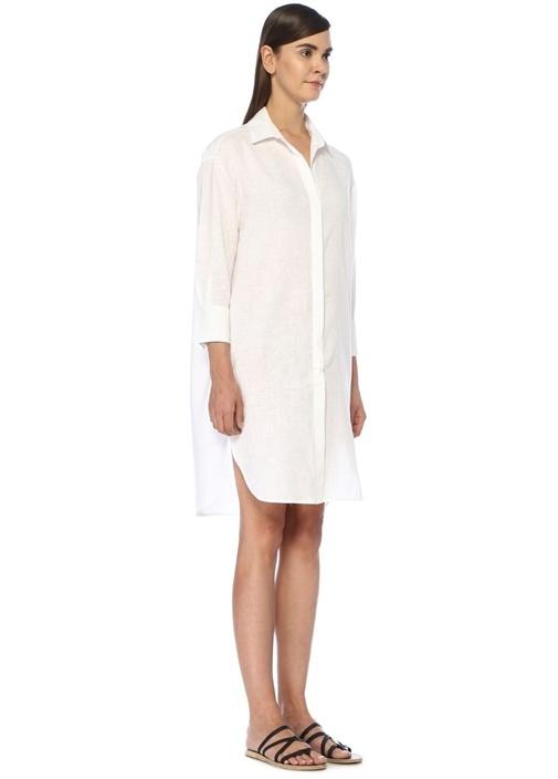 Akana Beyaz İşlemeli Midi Keten Gömlek Elbise