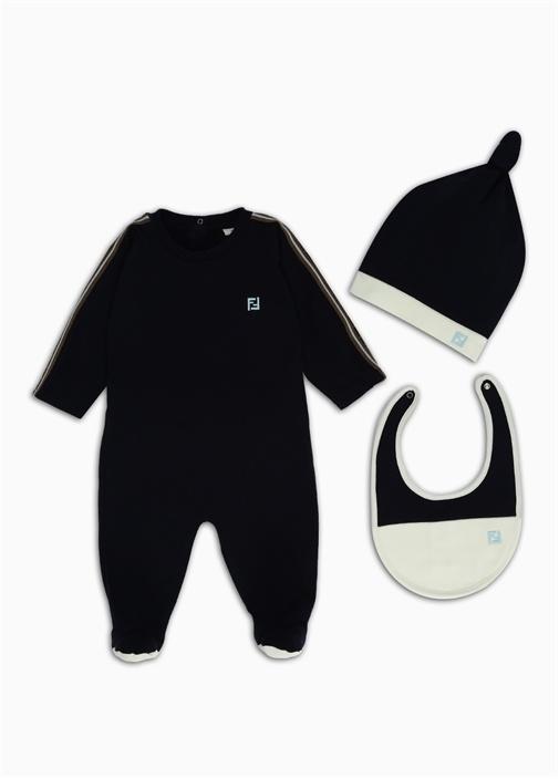 Lacivert Logo Şeritli 3lü Bebek Uyku Tulumu Seti