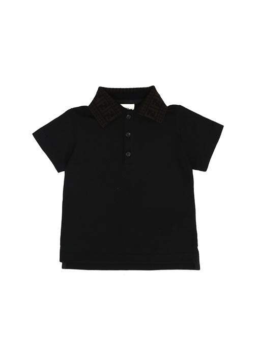 Siyah Logo Jakarlı Polo Yaka Erkek Çocuk T-shirt