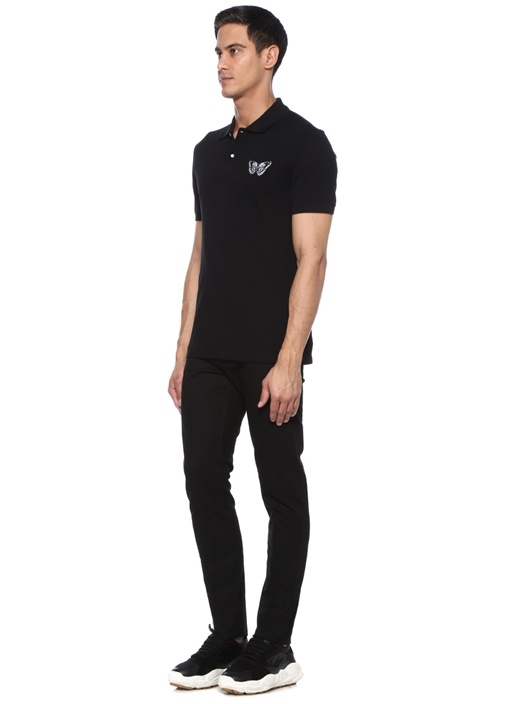 Siyah Polo Yaka Kelebek Patchli T-shirt