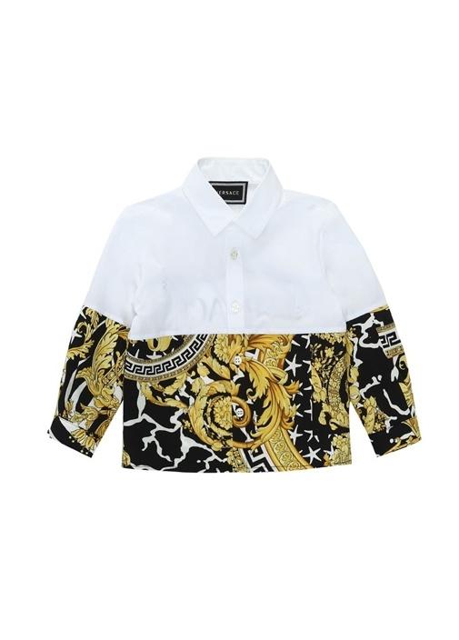 Beyaz Sarı Barok Desenli Logolu Erkek Bebek Gömlek