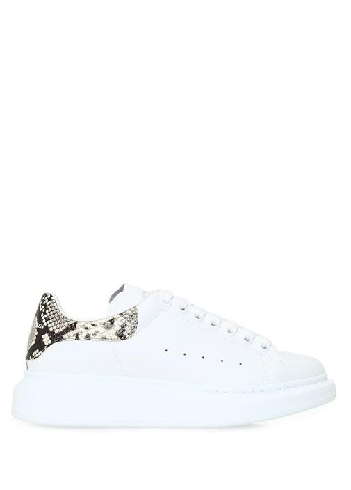 Oversize Beyaz Logolu Kadın Deri Sneaker