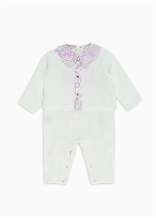 Beyaz Pembe Yakası Çiçek Baskılı Bebek Tulum Seti