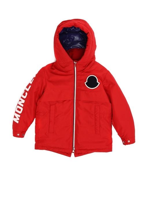 Kırmızı Kapüşonlu Logolu Erkek Çocuk Mont