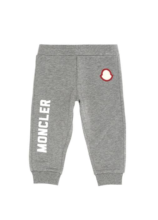 Gri Melanj Logolu Erkek Bebek Jogger Pantolon