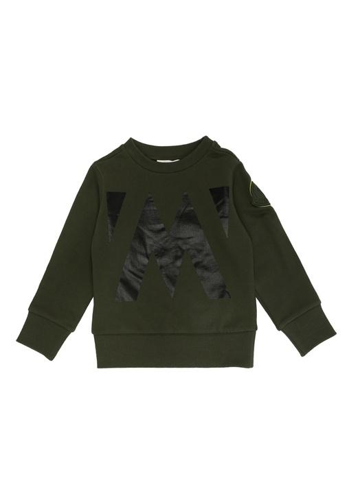 Haki Siyah Logo Baskılı Erkek Çocuk Sweatshirt