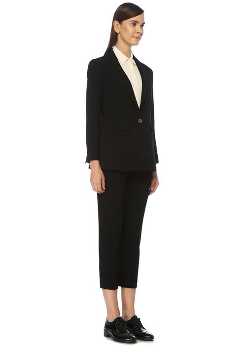 Siyah Tek Düğmeli Krep Blazer Ceket