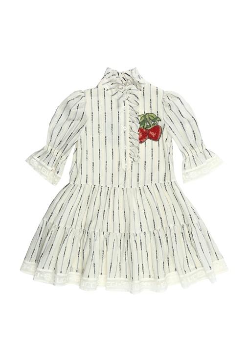 Mavi Beyaz Çizgili Logo Jakarlı Çocuk Elbise
